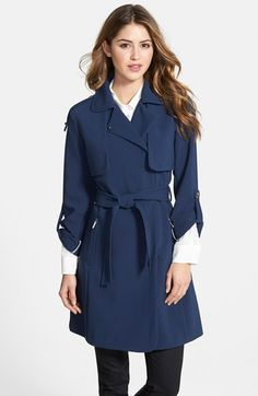 Free shipping and returns on aB Roll Sleeve Wrap Trench Coat at Nordstrom.com. A Peter Pan collar and button-tab sleeves soften the classic trench silhouette of a belt-wrapped coat with tonal topstitch detailing.