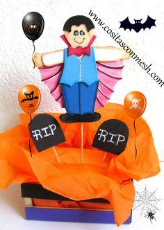 Centro de mesa Halloween -Drácula en goma eva-foami-microporoso-paso a paso manualidades -DIY