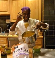 Vegan Chef Ayinde Howell dials it up a notch with some kick ass vegan nacho cheese sauce at his superbowl party cooking class at Whole Foods NYC Bowery location. Now this is the stuff!  Pours it on to top off quinoa nachos.