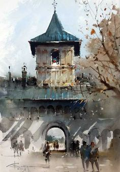 Watercolor Landscape, Watercolor Paintings, Watercolor Ideas, Watercolours, Oil Paintings, City Painting, Painting & Drawing, Scenery Paintings, Alcohol Ink Art