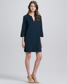 Helda Linen-Blend Dress, True Navy by Theory at Neiman Marcus.