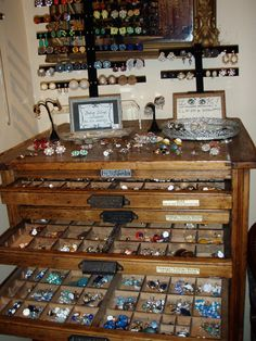 Shallow drawers to store and showcase jewelry.