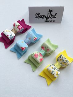 Girls and baby Floral fabric felt hair bows by SleepyOwlCraftHouse