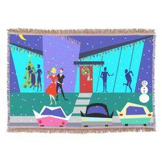 Retro Holiday Cartoon Christmas Throw Blanket--#throwblanket #midcenturymodern #1950s #1950s #Christmas #holidays #retro #decor