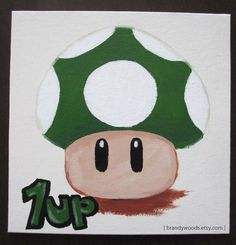 Super Mario Bros 1-Up Mushroom original acrylic painting art artwork Brandy Woods. $50.00, via Etsy.