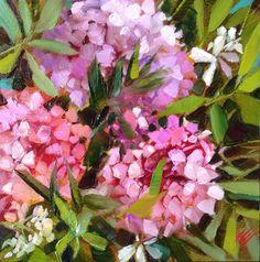 Hydrangeas and myrtle original fine art by Krista Eaton