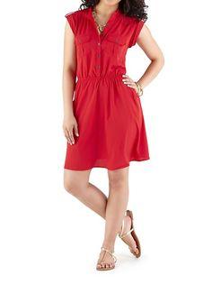 dots: Cap Sleeve Button Down Shirt Dress