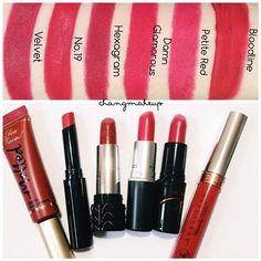#changmakeup #beauty #lipstick #lip #makeup #swatch #toofaced #melted #velvet #katvond #hexagram #mac #damnglamorous #anastasiabeverlyhills #bloodline #petitered