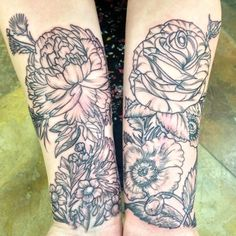 peony tattoo black and grey - Google Search