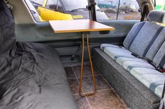 The table can be rested on the back to use outside or against the window ledge for this inside set up. In a Bumble Camper you have seats either side of the table - perfect for inside dining. Bus Camper, Campers, Campervans For Sale, Rent A Campervan, Toyota Previa, Uk Holidays, Peterborough, Blinds For Windows, Double Beds