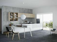 Kitchen with peninsula without handles MILA 02 by CESAR ARREDAMENTI | design Gian Vittorio Plazzogna www.gelosaarredi.it www.gelosaarredi.com www.interiordesignitaly.com #interiordesignitaly #italianfurnishings#italianfurniture#Kitchen #design