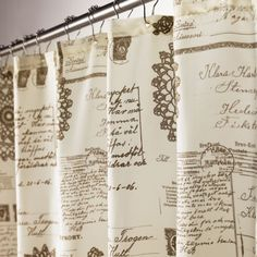 Give your bathroom decor a trendy look with the high quality Script cream fabric shower curtain. This decorative shower curtain is made of polyester and will instantly make the shower a focal point in any bathroom. Cream Curtains, Fabric Shower Curtains, Drapes Curtains, Script, Laundry Room Bathroom, Laundry Rooms, Bathroom Ideas, Bathrooms, Mosquito Curtains