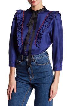 Image of Marc Jacobs Ruffle Button Silk Shirt