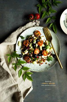 Blueberry Lentil Salad with Chili Lime Dressing