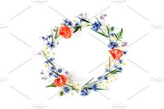 Floral wreath frame with poppies by Floral Deco on @creativemarket