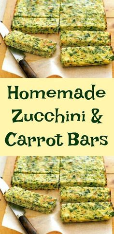 Homemade Zucchini And Carrot Bars. Perfect finger food recipe. #baby #babyfood #toddler #fingerfood