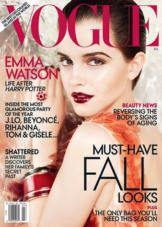 Emma Watson is on the cover of Vogue July 2011 photographed by Mario Testino