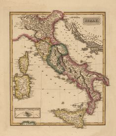 1819 Italy Antique Map, giclee reproduction, unframed or framed with custom sizes in vintage dark burl wood frame. Made in USA by MUSEUM OUTLETS  #italymap  #antiquemap  #wallart  #madeinusa