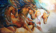 """Wild Trio Run"" by Marica Baldwin, horses, horse painting http://fineartamerica.com/featured/wild-trio-run-marcia-baldwin.html#comment12791269"