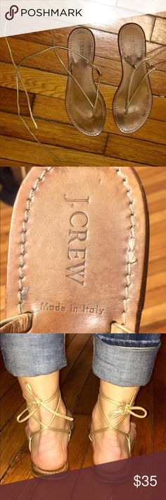 J.CREW Genuine leather Gladiator Shoe Made in Italy, these gold leather gladiators are in good condition. Gorgeous sandals that are easily paired with any outfit. J. Crew Shoes Sandals