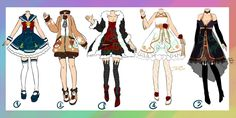 Adoptable : Outfits [CLOSED] by https://zylenxia.deviantart.com on @DeviantArt