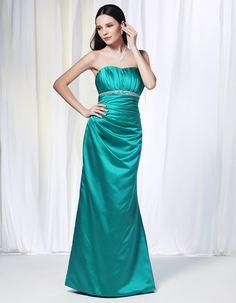 Satin Sheath/Column Strapless Floor-Length Bridesmaid / Formal / Long Dress