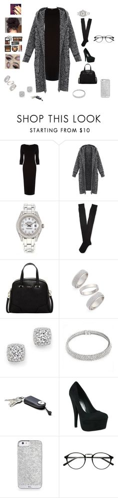 """""""night out with friends"""" by jordyn-jw on Polyvore featuring Warehouse, Rolex, Aéropostale, Furla, Topshop, Bloomingdale's, Bling Jewelry, women's clothing, women's fashion and women"""