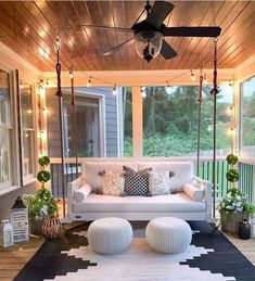 """Modern Farmhouse Decor  DIY on Instagram: """"Is it porch weather where you are yet? Wouldn't you love to have an inviting outside space like Kelly's @mygeorgiahouse ?😍Especially since…"""" Future House, Outdoor Spaces, Outdoor Living, Outdoor Kitchens, Sweet Home, House Goals, My Dream Home, The Dream, Dream Life"""