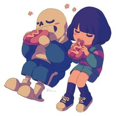 Sans and Frisk from Undertale! So cute! Frisk From Undertale, Sans E Frisk, Sans Papyrus, Undertale Fanart, Frans Undertale, Undertale Memes, Toby Fox, Underswap, Bad Timing