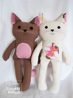 { Cat Doll } - PDF Sewing Pattern - BEST SELLER    I love cats. I live with 3 charmers. I wanted to design a cat doll with personality (and