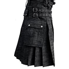 Black Denim Kilt with Cargo Pockets    #cargo #kilt #cargokilt #kiltformen #menskilt #kiltedlife #kiltforlife #kiltandjacks #denimkilt #kiltforboys #boyskilt #kiltedlife