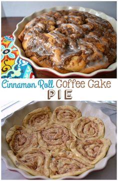 Coffee Cake #Pie with a Cinnamon Roll Crust {by crazyforcrust.com}