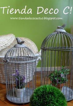 Jaulas decorativas metálicas color gris: Tienda Deco C Modelo agotado