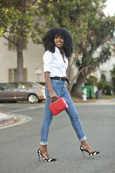 Classic Button-Up Shirt + High Waist Jeans