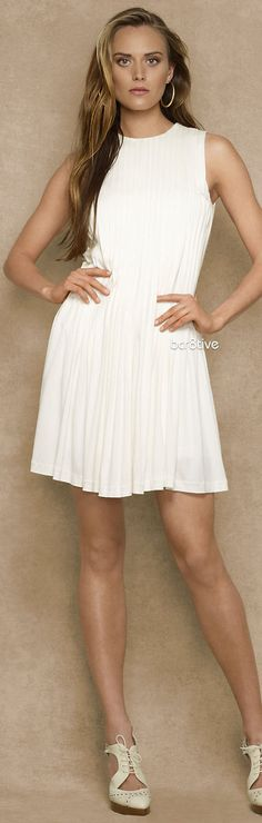 Ralph Lauren White Pleated Dress.  Love the shoes!