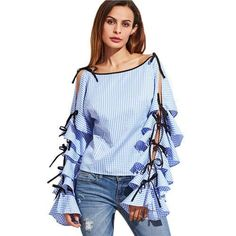 SheIn Spring 2017 Women Clothing Women Blouse New Fashion Boat Neck Blue Striped Bow Tie Split Ruffle Long Sleeve Blouse