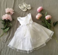 Soft White Organza and Flowers Baby Girl Baptism Dress, Fancy Frilly Satin Organza Dress for Special Ocassion, Flower Girl Wedding Birthdays
