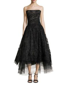 Monique Lhuillier Embellished Tulle Strapless Gown - elegant and cute cute cute