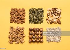 Stock Photo : Nuts and seeds, neatly organised