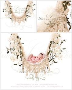 Hammock with pure white background and flowers 2 - Digital backdrop /background - psd with layers