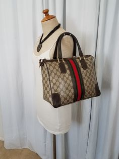 32b1fe7deb6e Details about Authentic Vintage Gucci Bag Purse GG Monogram Rare HTF 70s  80s Vinyl PVC NICE