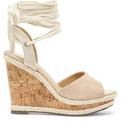Sole Society Sena Espadrille Wedge ($70) ❤ liked on Polyvore featuring shoes, sandals, light camel, wedge heel sandals, wedge espadrilles, ankle wrap sandals, ankle tie sandals and cork wedge sandals