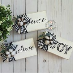 Peace, Joy, Believe farmhouse Christmas wood blocks decor with buffalo plaid, cotton and eucalyptus using chalk couture. Wrap gifts like this Christmas Wood Crafts, Homemade Christmas, Christmas Projects, Holiday Crafts, Holiday Fun, Christmas Blocks, Christmas Ideas, Christmas Photos, Christmas Crafts To Sell Bazaars