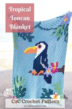 Bring a bit of the tropics to your home with the Tropical Toucan Blanket! This Crochet Blanket Graphgan uses different color changes in crochet to create this stunning design. It's a cozy corner to corner crochet blanket afghan that everyone will love! Bunny Crochet, Crochet Flowers, Hand Crochet, Free Crochet, Crochet Baby, Corner To Corner Crochet Blanket, Cozy Corner, Change Colors In Crochet, E Claire