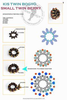 Ewa beading world!: Small twin bead- beaded bead tutorial in diagram and photo form