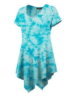 CTC Womens V Neck Short Sleeve Solid & Tie-Dye Tunic - http://www.darrenblogs.com/2016/08/ctc-womens-v-neck-short-sleeve-solid-tie-dye-tunic/