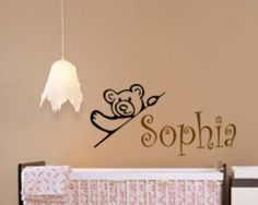 Nursery girls name decal, baby girl teddy bear wall sticker, childs personalized decal, nursery wall decor, boys name decal, 15 X 30 inches by aluckyhorseshoe on Etsy