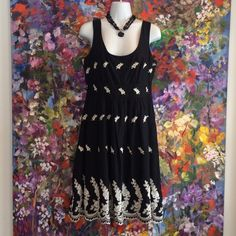 Black sundress with cream embroidery Lovely black and cream 100% cotton sundress Forever 21 Dresses
