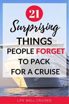 With so much cruise planning, it's actually quite possible to forget some important things that you'll actually NEED on your cruise. Here are the items that past cruisers admitted to forgetting to bring on their cruise vacation. Alaska Cruise Tips, Cruise Packing Tips, Cruise Travel, Cruise Vacation, Alaska Travel, Packing Lists, Disney Cruise, Vacation Ideas, Vacation Spots