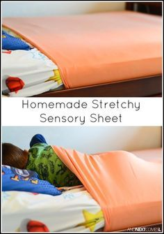 Tutorial for making homemade DIY stretchy lycra sensory sheets for kids with autism or sensory processing disorder.Tap the link to check out great fidgets and sensory toys. Check back often for sales and new items. Happy Hands make Happy People! Sensory Therapy, Sensory Tools, Sensory Diet, Sensory Issues, Sensory Play, Diy Sensory Toys, Sensory Toys For Autism, Sensory Bags, Sensory Activities